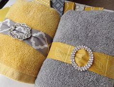 Yellow and Gray Towel Ornaments