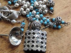 Antique French Perfume Bottle Necklace Assemblage by WhatOnceWas, $192.00