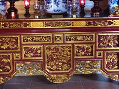 Intricate work done inside Van son temple ,Con Dao archipelago island vietnam