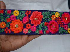 Silk Embroidered Ribbon Trims Decorative Indian Sari Border
