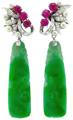 Marsh and Company earrings with jade, cabochon rubies, diamonds, natural cultured pearls. Circa 1930's 40's. Via @1stdibs.
