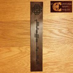O'Connors Irish Celtic Ogham Brown Leather Bookmark 'Son of Ireland' Irish Celtic, Celtic Knot, Alphabet Dating, Ogham Alphabet, Celtic Crafts, Shield Design, Leather Bookmark, Jewellery Boxes, Craft Shop