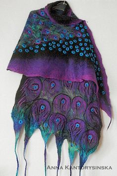 Nuno felt silk scarf PEACOCK purple wrap scarf with . Nuno Felt Scarf, Wool Scarf, Crochet Vest Pattern, Felt Pictures, Purple Scarves, Purple Art, Large Scarf, Silk Wool, Nuno Felting