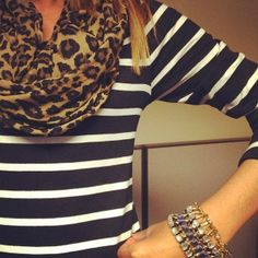Lining Shirt With Leopard Design Scarf