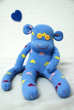 blue sock monkey stuffed animal  bright blue with by GARBUBOT, ₪80.00