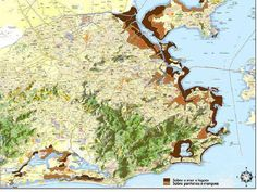 Mapa da Cidade do Rio de Janeiro e sua expansão urbana . Em marrom escuro ,Praias e lagos e Lagoas que foram aterrados e em Marrom claro Pântanos e Mangues