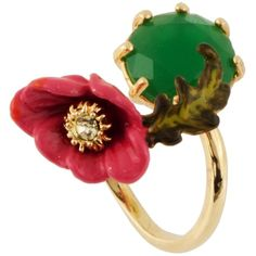 Les Néréides DAZZLING DISCRETION LARGE PINK FLOWER WITH GREEN STONE... (6.150 RUB) ❤ liked on Polyvore featuring jewelry, rings, green, jewelry rings, stone jewelry, pink jewelry, adjustable rings, animal jewelry and les nereides jewellery
