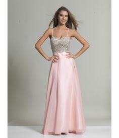 Blush Spaghetti Strap A-Line Chiffon Long #Prom Gown