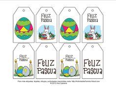 Etiquetas de pascua para imprimir y colorear. Adornan canastas de pascua, regalos y bolsas de huevitos.