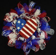 Patriotic Wreaths (24), Memorial or Labor Day, Veterans Day, RWB, Poly Mesh Wreath, Deco Mesh - Item 776 via Etsy
