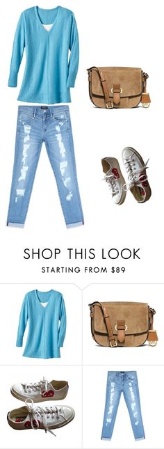 """Relax in Blue"" by ella178 ❤ liked on Polyvore featuring TravelSmith, MICHAEL Michael Kors, Converse, Bebe, Blue, boyfriendjeans and sneakerstyle"