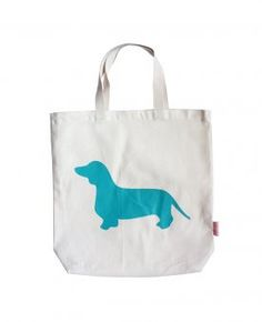"Romy & Jacob """"Dachshund"""" Organic Designer Tote Bag Available in 5 Designer Colors-Pink,Aqua,Yellow,Tangerine or Chocolate"