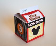 Milk Carton Favor Box Inspired by Mickey Mouse by LisaKaydesigns, $8.00