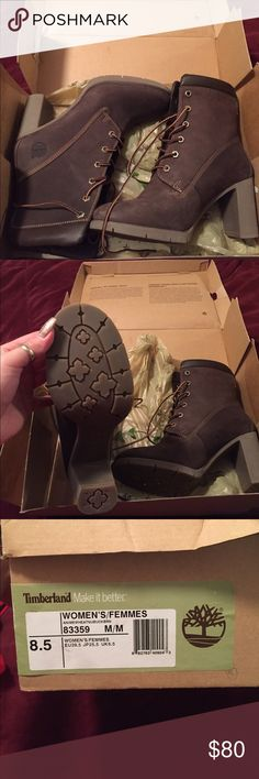 Brand new Classic high heeled Timberland boots Never worn, these brown suede classics have rubber soles. Mint condition no scratches, scuffs or marks. Original box which does have some wear and tear but it has kept the boots pristine. Timberland Shoes Heeled Boots