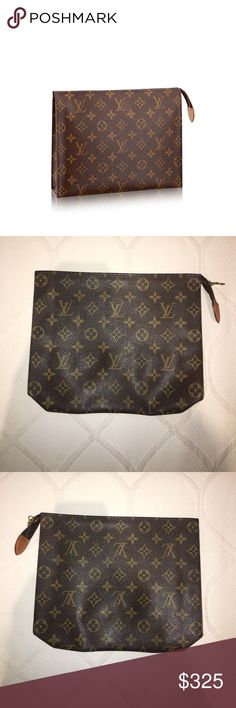 Louis Vuitton Toiletry Bag 26 Clutch Monogram 10.2 x 7.9 x 2.0 inches (length x height x width). Monogram canvas. Golden brass zip closure with leather tab. Outside is pristine. Inside is peeling but still very usable. Louis Vuitton Bags Clutches & Wristlets