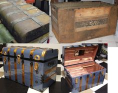 Examples of refinished and restored antique steamer trunks from our customers - Brettuns Village supplied the parts and hardware Recycled Furniture, Handmade Furniture, Antique Furniture, Painted Furniture, Diy Furniture, Old Trunks, Vintage Trunks, Trunks And Chests, Antique Trunks