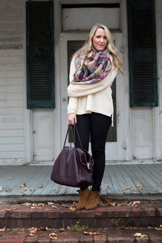 Zara Scarf, Forever 21 sweater, J.Crew pixie pants