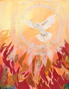 Pentecost Artwork by Barb Carr. Christian Symbols, Christian Art, Church Banners Designs, Day Of Pentecost, Jesus Painting, Cross Art, Prophetic Art, Biblical Art, Holy Ghost