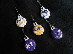 Set of 5 RAVENS GIRL zipper pulls. perfect by GrandmasBowsonETSY, $7.00