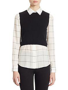 Alice + Olivia Two-Piece Lucinda Cropped Sweater Vest & Windowpane Shirt