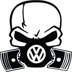VW Volkswagen Skull Piston Gas Mask Black Vinyl Decal Sticker | 5.5-Inches
