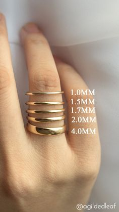 Popular wedding ring width comparison - A Gilded Leaf jewelry #weddingring