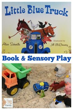 Sensory play activity for toddlers and preschoolers featuring the book Little Blue Truck.