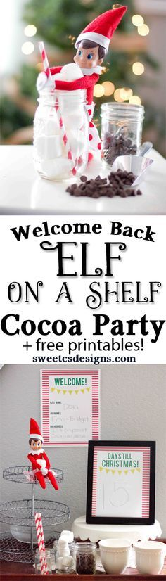 Welcome your Elf on a Shelf with an easy Cocoa Party and free printables!