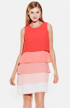 Vince Camuto Colorblock Layered Shift Dress available at #Nordstrom