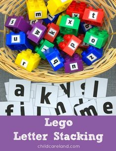 Lego letter stacking for letter recognition and fine motor development. Teaching Letter Recognition, Teaching Letters, Preschool Letters, Letter Tracing, Early Learning, Fun Learning, Learning Spanish, Learning Stations, Lego Activities
