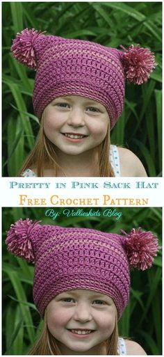 Crochet Beanie Ideas Pretty in Pink Sack Hat Crochet Free Pattern - Sack Crochet Kids Hats, Crochet Girls, Crochet Baby, Knitted Hats, Kids Crochet Hats Free Pattern, Crochet Clothes, Crochet Gratis, Free Crochet, Crochet Beanie Pattern