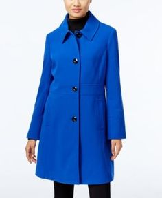 Larry Levine Single-Breasted Walker Coat, Only at Macy's - Blue M