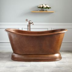 "66""+Maura+Hammered+Copper+Double-Slipper+Pedestal+Tub"
