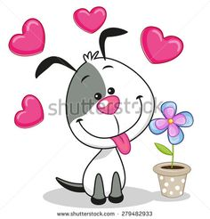 Illustration of Greeting card Dog with heart and flower vector art, clipart and stock vectors. Art Drawings For Kids, Drawing For Kids, Easy Drawings, Art For Kids, Cartoon Drawings, Cute Images, Cute Pictures, Baby Pictures, Rock Painting Designs