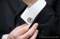 Wax Seal Compass Cufflinks   Sterling Silver by PrairieCoastArt, $94.00
