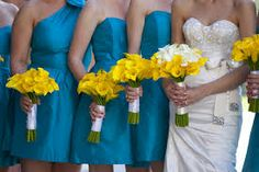 teal and yellow wedding - possible flower idea