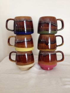 Vintage Mid Century Modern Cups Set of 12 Stackable Mugs Drip Glaze Multi Colors by LilBlackDressVintage on Etsy