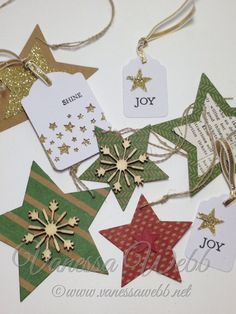 Gift Tags using Many Merry Stars Kit by Stampin' Up!......project ideas, inspiration blog, buy stampin' Up! online in Australia :  www.vanessawebb.stampinup.net