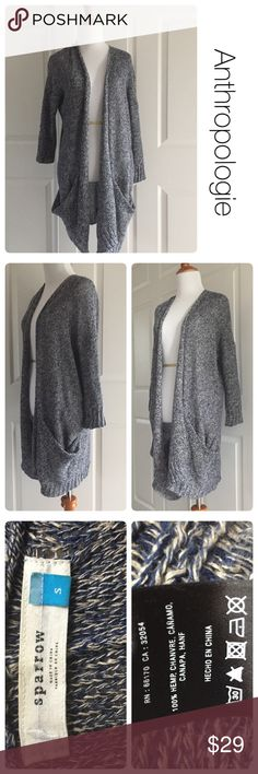 Anthropologie oversized cardigan made of hemp S Made of 100% hemp. Some loose threads as pictured but likely unnoticeable to anyone when wearing. No stains or piling. Blue and cream knit. Anthropologie Sweaters Cardigans