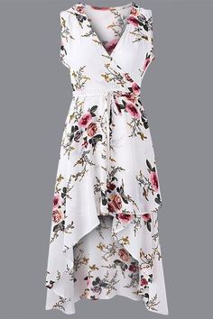 This sleeveless dress is an essential piece for this season. It has random floral print, v neck, and irregular hem. Style with high heels will be perfect. - Fashion style - V-neck - Sleeveless - Random floral print - Midi length - Irregular hem - Regular fit - Hand wash - Main: 100% Polyester - Package Content: 1 * Dresses