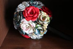 Fun comic book and sheet music bridal bouquet by CraftingbyKnight, $100.00