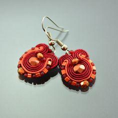 Small Maroon Soutache Earrings Humming-bird - Orange Soutache Earrings - Maroon Soutache Jewelry - Orecchini Sutache - Small Ethnic Earrings by OzdobyZiemi on Etsy