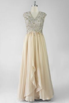 Chic V Neck Cap Sleeves A Line Chiffon Champagne Evening Dress Persun