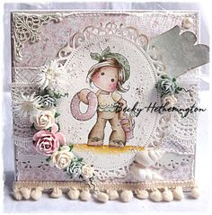 Card created by LLC DT Member Becky Hetherington, using papers from Mja Design's Sofiero collection and a Magnolia image.