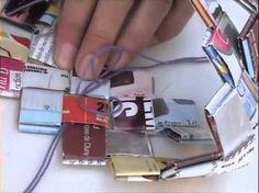 Como fazer as tiras, quadrado, Candy wrapper bags P1 - YouTube