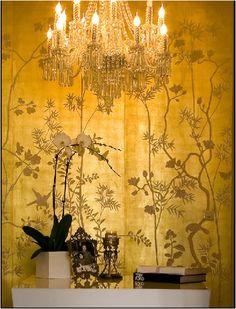 http://www.pinterest.com/joliesarts ∗ »☆Elysian-Interiors ♕Simply divine #Interiordesign ~ ChinoiserieBeautiful yellow chinoiserie wall paper.
