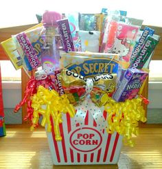 Candy bouquet, movie and popcorn