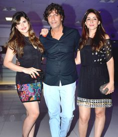 Chunky Pandey with wife Bhavana Pandey and  Zareen (Zarine) Khan at Sajid Khan's birthday bash. #Bollywood #Fashion #Style #Beauty #Hot #Sexy