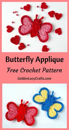 Crochet Butterfly Applique, Free Crochet Pattern - GoldenLucyCrafts Learn how to make this beautiful heart-shaped crochet butterfly applique! Free pattern, easy crochet project, perfect for any embellishment or scrapbooking. Crochet Butterfly Free Pattern, Crochet Applique Patterns Free, Crochet Flower Patterns, Crochet Motif, Crochet Designs, Crochet Flowers, Crochet Hearts, Crochet Appliques, Beginner Crochet Projects