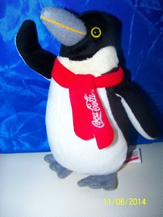 "Coke Coca Cola Plush Penguin w scarf Best Play European Community 7"" tall"